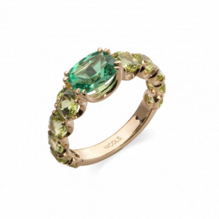 Peridot Green Quartz Ring Rose Gold RAINBOW