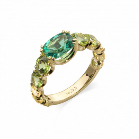 Green Quartz Peridot ring RAINBOW