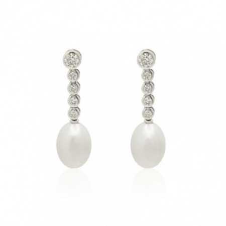 FIVE CLASSIC DIAMOND pearl earrings