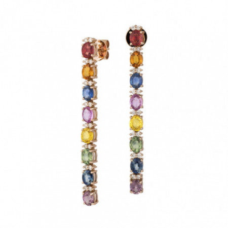 Sapphires Earrings Rose Gold Color RAINBOW