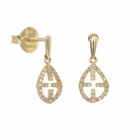 Gold Hollow Cross Earrings LITTLE DETAILS.
