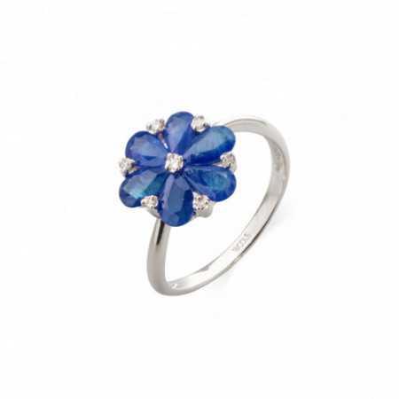 Sapphire Flower Ring MINI DETAILS