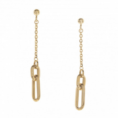 Double Rectangle Gold Earrings LOVE FREE.