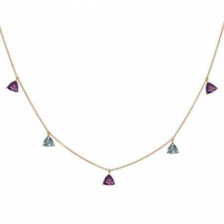 Amethyst and Topaz Stones Pendants Necklace TRILLON