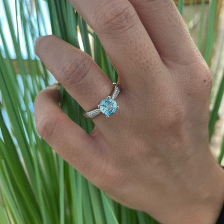 Gold and Zircon Ring Blue LONE NICOLE 1.50